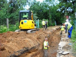 Venstpils ielā notiek centralizētā ūdensvada un kanalizācijas tīklu izbūve